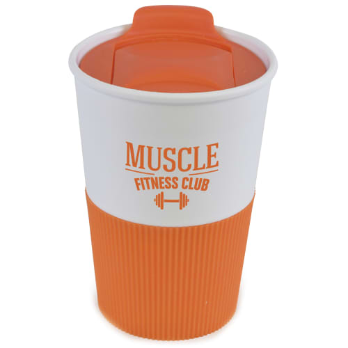 Promotional 350ml Duo Colour Grippy Tumblers are available with 10 lid and grip colours
