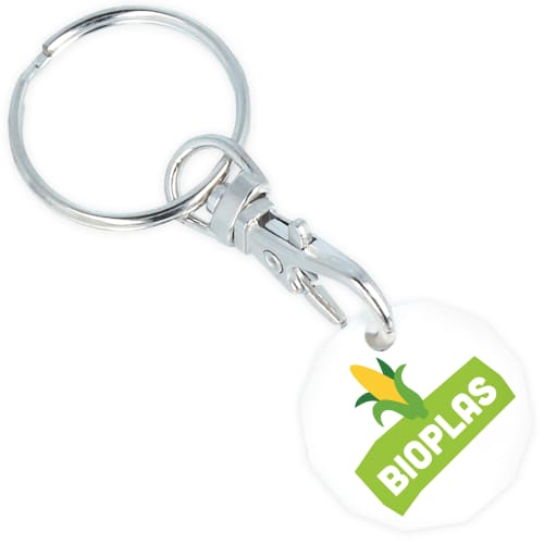 White Promotional Bioplastic Trolley Coin Keyrings Made in the UK