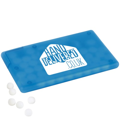 Promotional Sugar Free Mint Cards with your Company Logo in Cyan