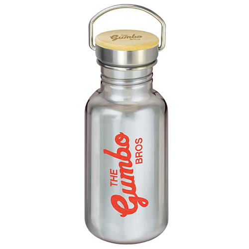 Silver Canteen Metal Drinks Bottles printed with company logo