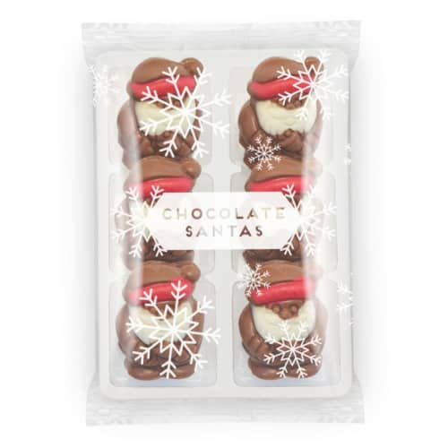 Branded Flow Wrapped Milk Chocolate Santa Trays