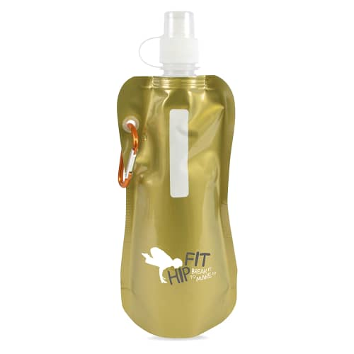 Metallic Gold Branded Folding Water Bottle
