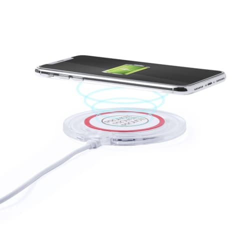 Circular Promotional Wireless Charging Pad in Red