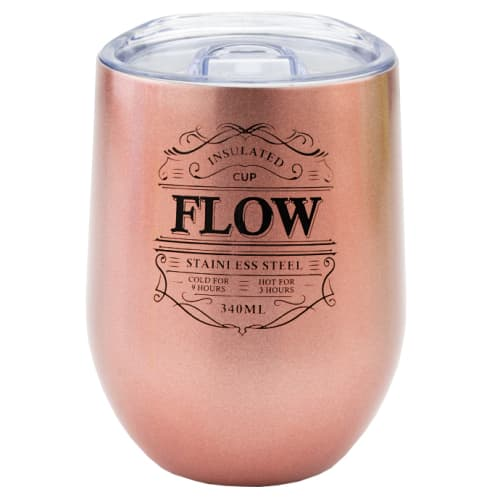 Branded Reusable Stainless Steel Cup in Metallic Rose Gold