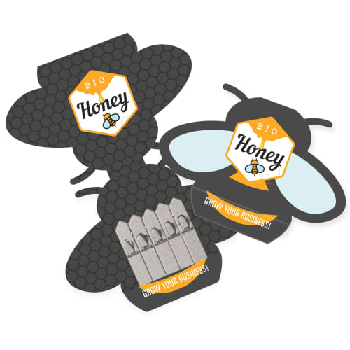 Promotional seed sticks with bee-shaped packaging