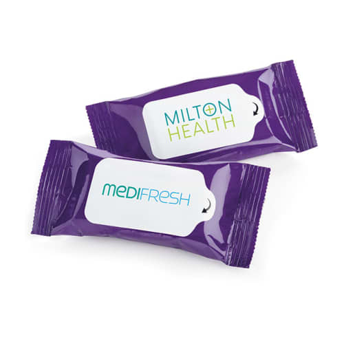 Promotional 10 Wet Wipes Pocket Sized Pack with your Logo