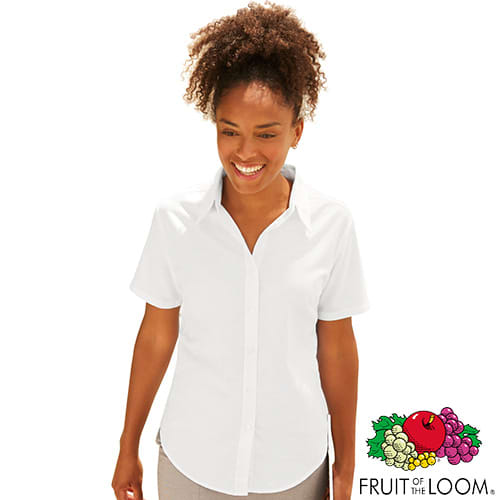 Promotional Fruit of the Loom Lady Fit Short Sleeve Oxford Shirts for workwear