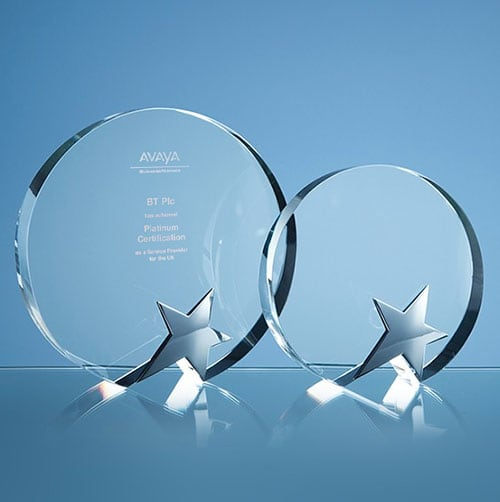 Optical Crystal Circle Star Awards in Clear/Silver