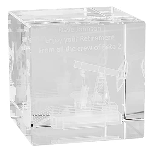 3D Engraved Crystal Cubes