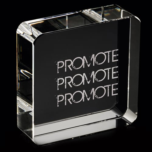 Promotional 60mm Optical Crystal Square Paperweights for Company Gifts