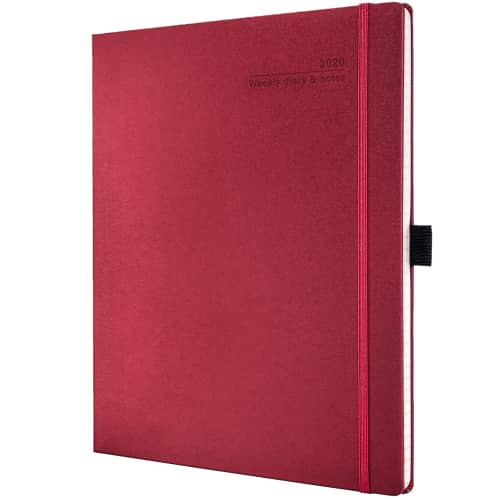 Branded Ivory Matra Large Weekly Diaries with Pencil for desks in Ruby Red