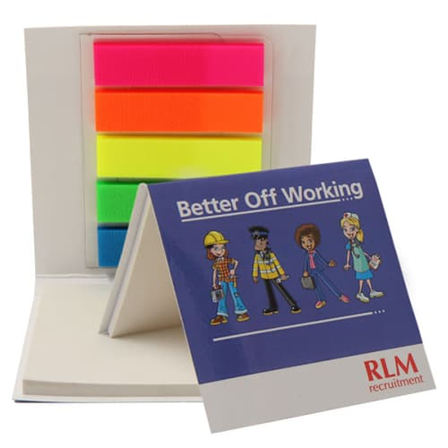 Sticky Note Pad and Index Markers in White