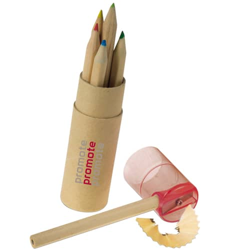 Printed 6 Colour Pencils with Sharpener for School Merchandise