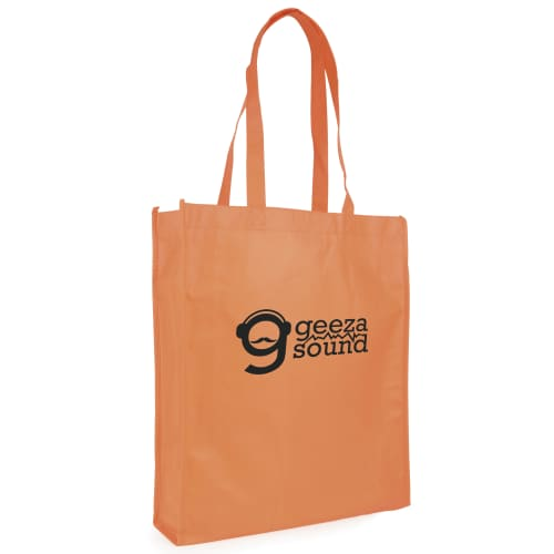 These branded shopper bags are made from recyclable non-woven material.