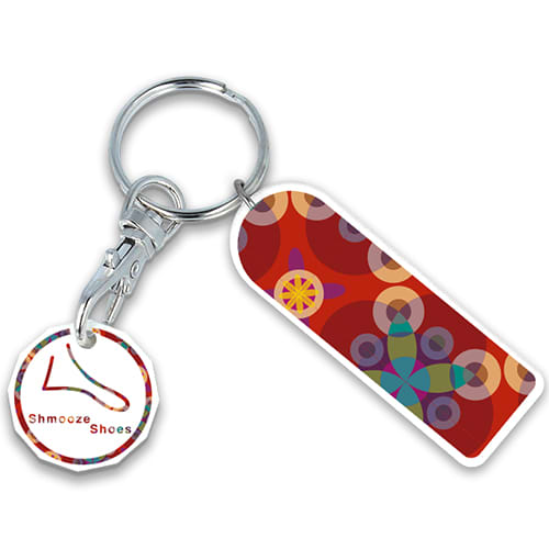 Promotional Rectangle Combo Trolley Coin Keyfobs with logos
