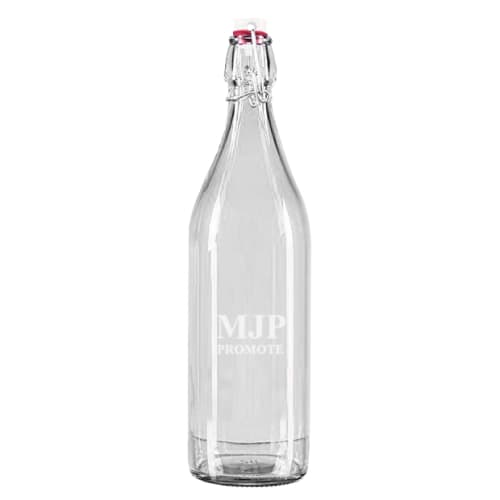 Promotional 1 Litre Round Swing Top Glass Bottles for Corporate Gifts