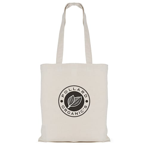 Company branded 7oz Long Handle Cotton Bags printed with logo