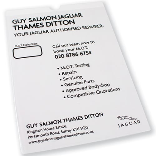 This A4 MOT certificate holder is perfect for branding with your artwork - an essential for car owners!