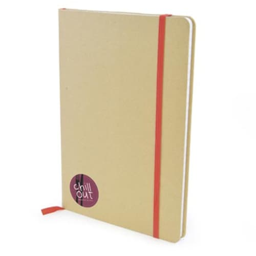 A5 Natural Recycled Notebooks in Natural/Red