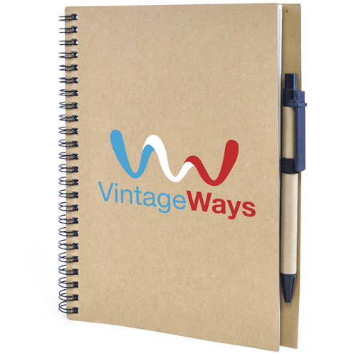 Promotional A5 Recycled Card Notebook and Pen with logos