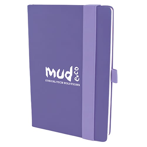 A5 Wide Strap Soft Touch PU Notebooks in Purple