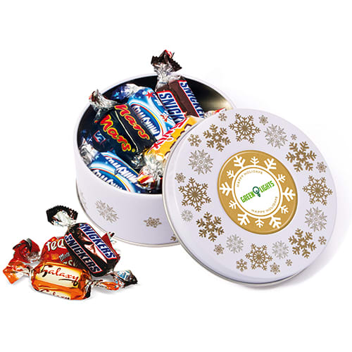 Each of these Christmas Treat Tins contains a delicious selection of sweets or shortbread biscuits.