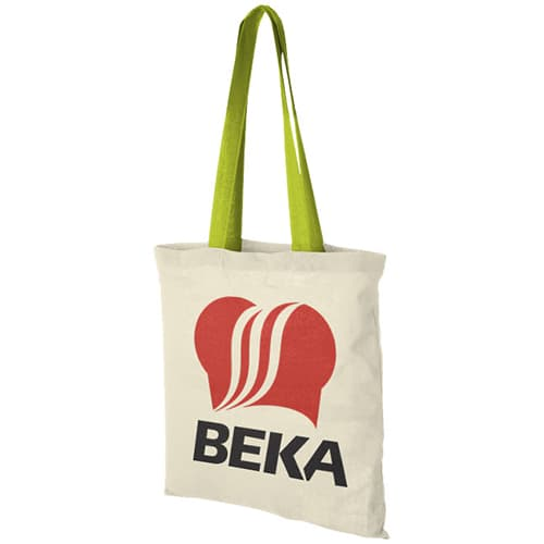 Coloured Handle Cotton Tote Bags in Natural