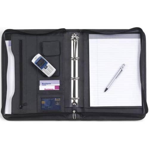 A4 Diplomat Zipped Ringbinder Folders in Black