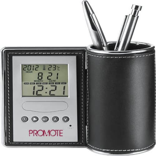 Desk Tidy Clocks in Black