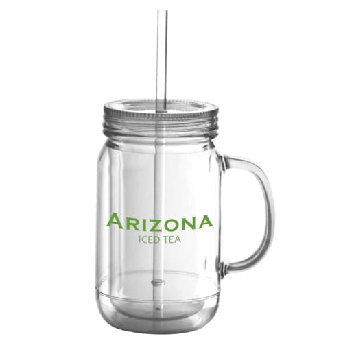Branded Double Walled Plastic Drinking Jars for Campaign Merchandise