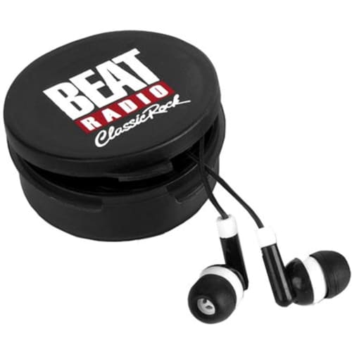 Custom branded Earbuds in Round Case business gifts