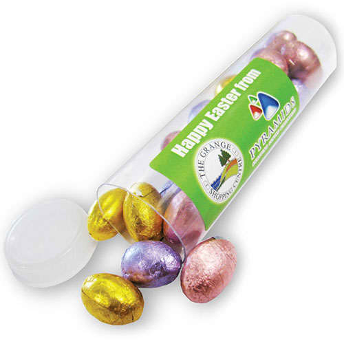 Promotional Foil Chocolate Egg Tubes for Easter Marketing