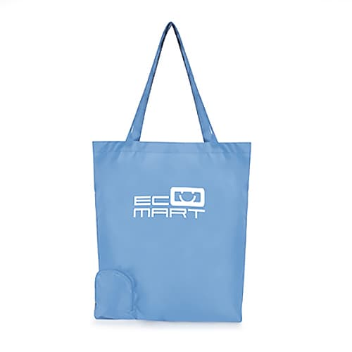 Foldable Polyester Shopper Bags in Cyan