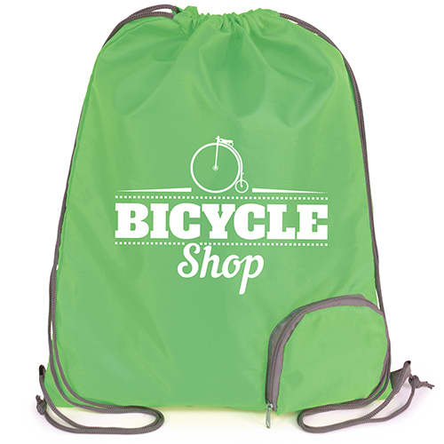 Custom printed Folding Polyester Drawstring Bags for business gifts