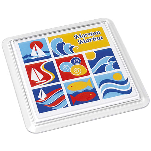 Personalised Full Colour Acrylic Square Coasters for Desktop Advertising