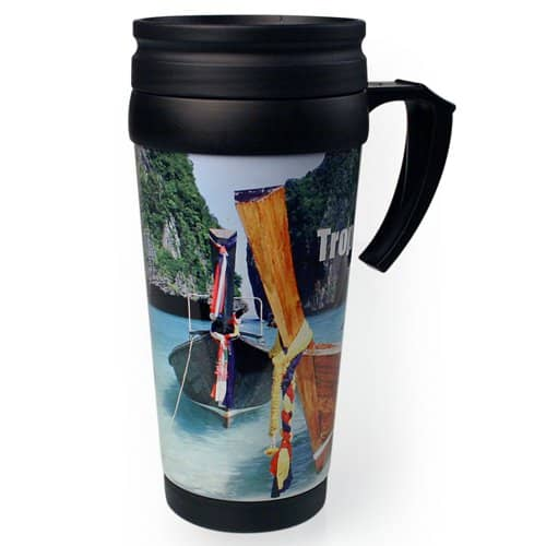 Promotional Full Colour Travel Mugs with Campaign Designs