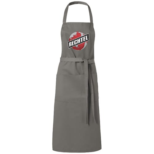 Branded Full Length Apron for catering events in Light Grey