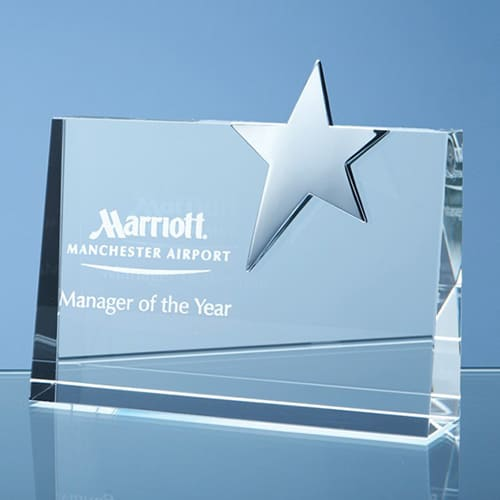 Personalised Horizontal Optical Crystal Star Award for Event Gifts