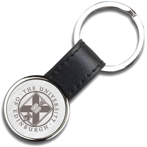 Izu Round Leather Keyrings in Black