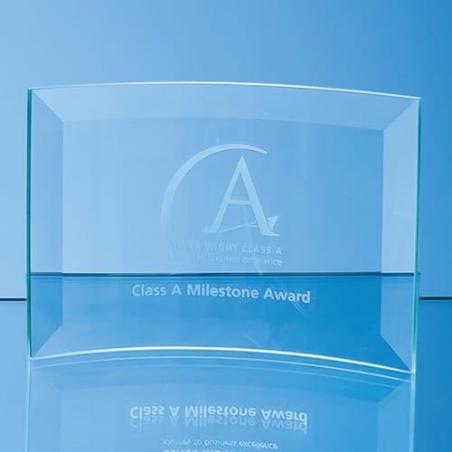 Personalised Medium Jade Glass Bevelled Crescent Awards for Corporate Gifts