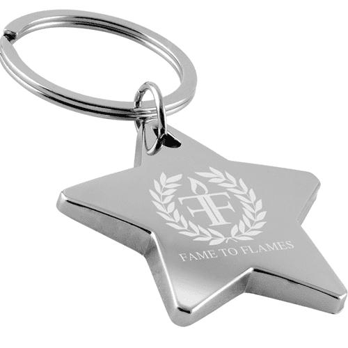 Metal Star Keyrings in Silver