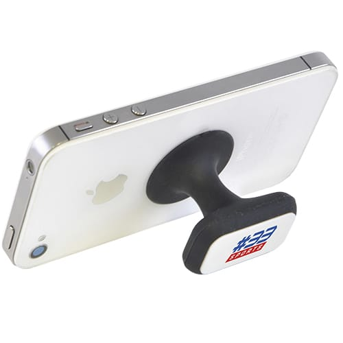 This easy-use suction-grip promotional smart phone holder is available in 3 colours: black, red & blue.