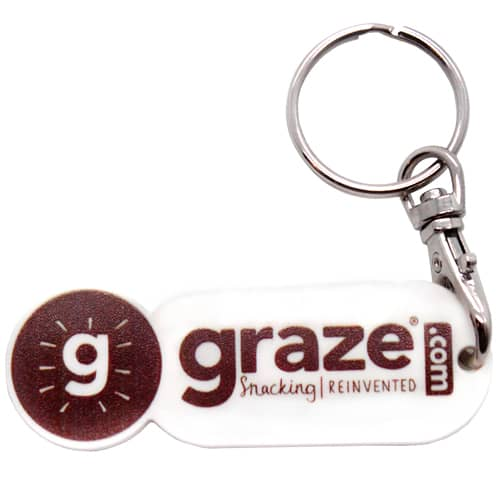 Promotional Oblong Trolley Token Stick Keyrings for Shop Giveaways
