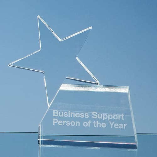 Personalised Optical Crystal Rising Star Awards for Event Gifts