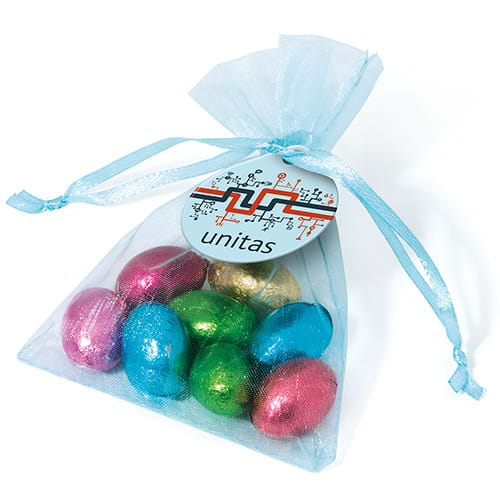 Organza Bags with Foil Chocolate Eggs
