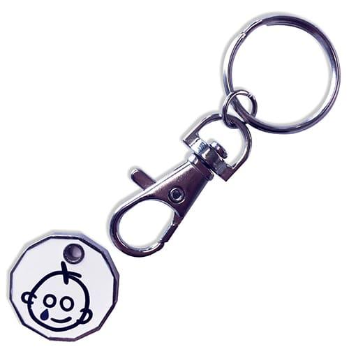 Custom Printed Trolley Coin Token Keyrings with logo