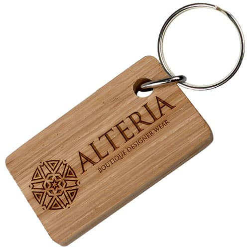 Personalised Oak Real Wood Oblong Keyring manufactured in the UK