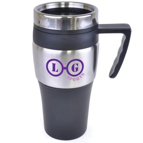 Screw on Lid Travel Mugs in Black
