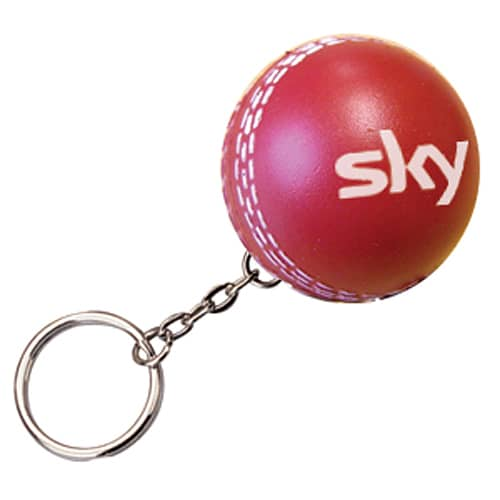 Stress Cricket Ball Keyrings in Red