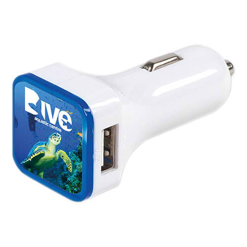 Branded Swift Dual Car Chargers with campaign logos